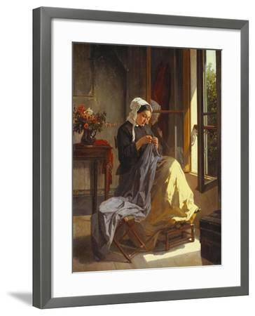 A Woman Sewing by an Open Window-Jules Trayer-Framed Giclee Print