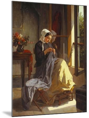 A Woman Sewing by an Open Window-Jules Trayer-Mounted Giclee Print