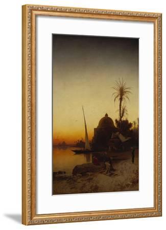 Arabs at Prayer by the Nile-Hermann Corrodi-Framed Giclee Print