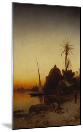 Arabs at Prayer by the Nile-Hermann Corrodi-Mounted Giclee Print