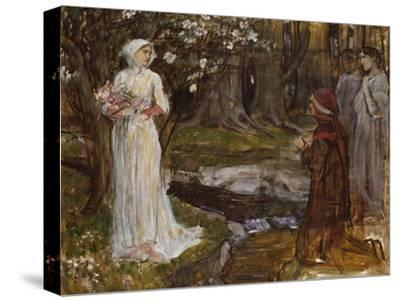 Dante and Beatrice-John William Waterhouse-Stretched Canvas Print