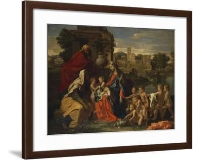 The Holy Family with the Infant Saint John the Baptist and Saint Elizabeth, and with Six Putti…-Nicolas Poussin-Framed Giclee Print