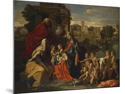 The Holy Family with the Infant Saint John the Baptist and Saint Elizabeth, and with Six Putti…-Nicolas Poussin-Mounted Giclee Print