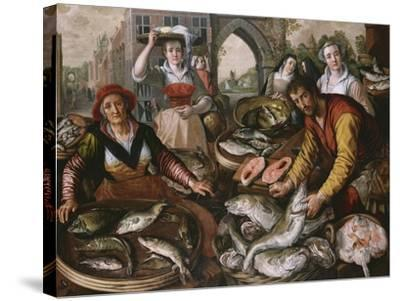 The Four Elements: a Fishmonger's Stall in a Town with the Miraculous Draught of Fishes Beyond -…-Joachim Beuckelaer-Stretched Canvas Print