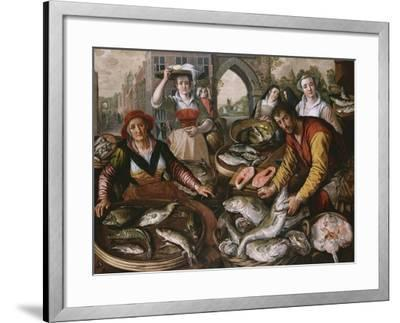 The Four Elements: a Fishmonger's Stall in a Town with the Miraculous Draught of Fishes Beyond -…-Joachim Beuckelaer-Framed Giclee Print