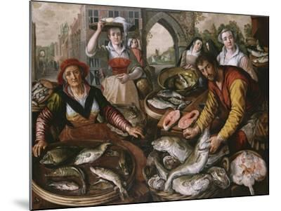 The Four Elements: a Fishmonger's Stall in a Town with the Miraculous Draught of Fishes Beyond -…-Joachim Beuckelaer-Mounted Giclee Print
