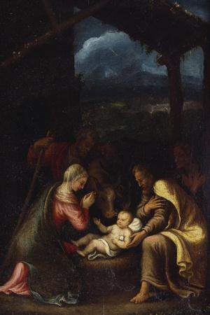 The Nativity-Giulio Romano-Stretched Canvas Print