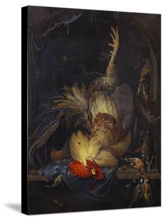 A Cockerel, a Partridge, Powder Horns, a Kingfisher and Song-Birds Hanging in a Niche, with a…-Abraham Mignon-Stretched Canvas Print