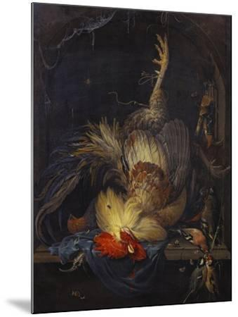 A Cockerel, a Partridge, Powder Horns, a Kingfisher and Song-Birds Hanging in a Niche, with a…-Abraham Mignon-Mounted Giclee Print