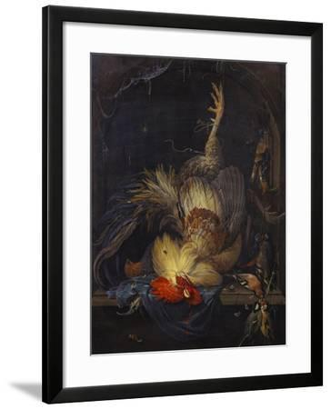 A Cockerel, a Partridge, Powder Horns, a Kingfisher and Song-Birds Hanging in a Niche, with a…-Abraham Mignon-Framed Giclee Print
