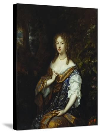 Portrait of Sara Nuyts (1645-1723), (Wife of Lambert Witsen), in an Orange, Blue and White Dress-Caspar Netscher-Stretched Canvas Print