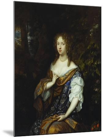 Portrait of Sara Nuyts (1645-1723), (Wife of Lambert Witsen), in an Orange, Blue and White Dress-Caspar Netscher-Mounted Giclee Print