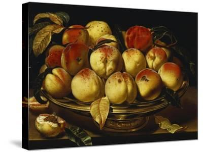 Peaches in a Silver-Gilt Bowl on a Ledge-Jacques Linard-Stretched Canvas Print