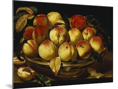 Peaches in a Silver-Gilt Bowl on a Ledge-Jacques Linard-Mounted Giclee Print