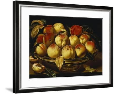 Peaches in a Silver-Gilt Bowl on a Ledge-Jacques Linard-Framed Giclee Print