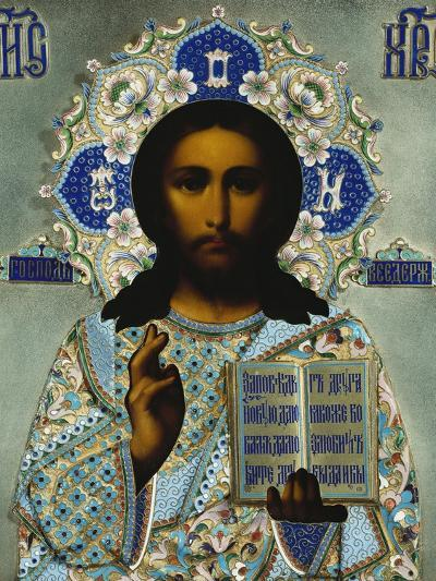 A Shaded Enamelled Silver-Gilt Icon of Christ Pantocrater, the Oklad Marked Moscow, 1899-1908--Giclee Print