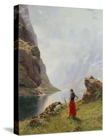 A Girl with Goats by a Fjord-Hans Dahl-Stretched Canvas Print