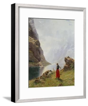 A Girl with Goats by a Fjord-Hans Dahl-Framed Giclee Print