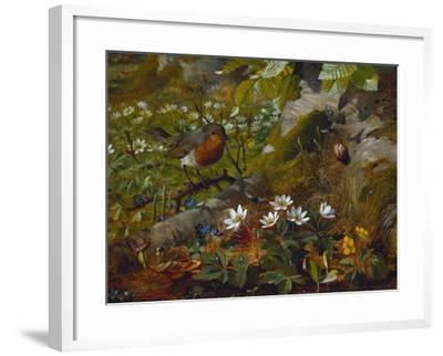 A Robin at the Foot of a Tree-Olaf August Hermansen-Framed Giclee Print