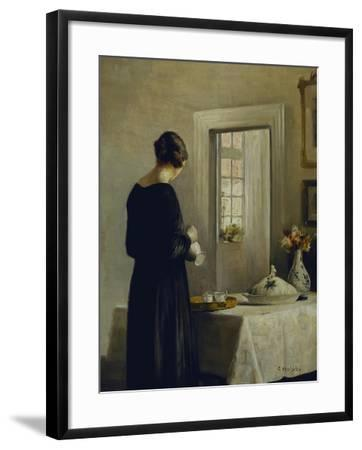 An Interior with a Woman at a Table-Carl Holsoe-Framed Giclee Print