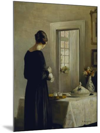 An Interior with a Woman at a Table-Carl Holsoe-Mounted Giclee Print