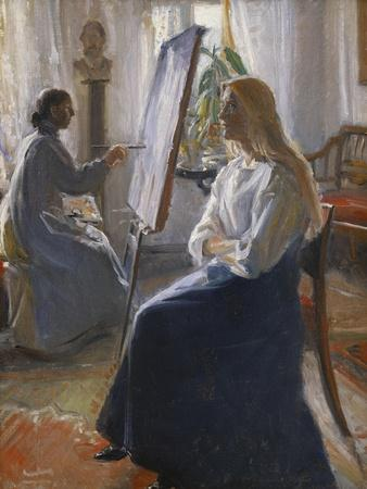 In the Studio; Anna Ancher, the Artist's Wife Painting-Michael Peter Ancher-Stretched Canvas Print