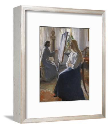 In the Studio; Anna Ancher, the Artist's Wife Painting-Michael Peter Ancher-Framed Premium Giclee Print