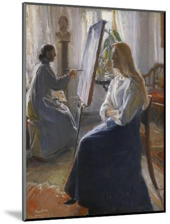 In the Studio; Anna Ancher, the Artist's Wife Painting-Michael Peter Ancher-Mounted Premium Giclee Print