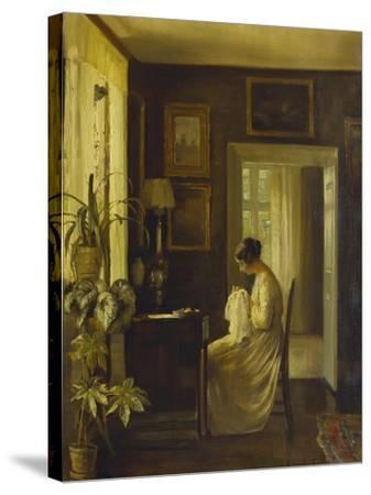 An Interior with a Woman Sewing-Carl Holsoe-Stretched Canvas Print