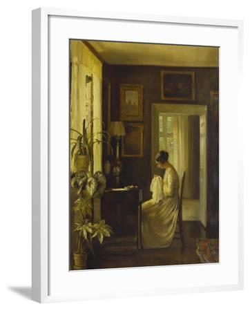 An Interior with a Woman Sewing-Carl Holsoe-Framed Giclee Print