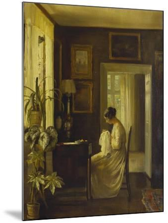 An Interior with a Woman Sewing-Carl Holsoe-Mounted Giclee Print