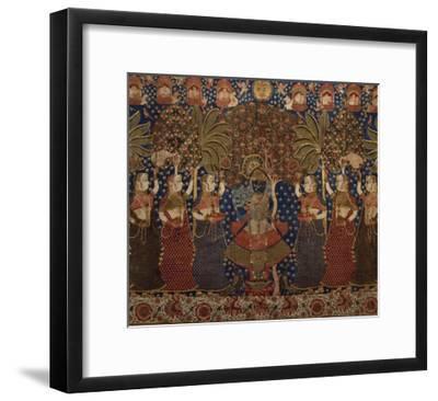 A Gold Chintz Pichhavai of Krishna--Framed Giclee Print