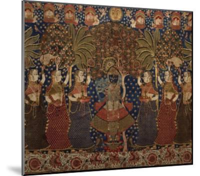 A Gold Chintz Pichhavai of Krishna--Mounted Giclee Print