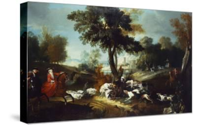 The Hunt with Wolf; La Chasse Au Loop-Jean Baptiste Oudry (Attr to)-Stretched Canvas Print
