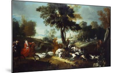 The Hunt with Wolf; La Chasse Au Loop-Jean Baptiste Oudry (Attr to)-Mounted Giclee Print