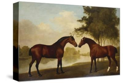 Two Hunters by a Lake-George Stubbs-Stretched Canvas Print