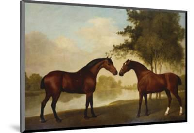 Two Hunters by a Lake-George Stubbs-Mounted Premium Giclee Print