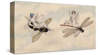 Two Fairies Flying Through the Air, One Seated on a Bee and the Other on a Dragonfly-Amelia Jane Murray-Stretched Canvas Print