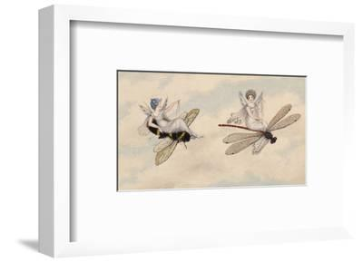 Two Fairies Flying Through the Air, One Seated on a Bee and the Other on a Dragonfly-Amelia Jane Murray-Framed Premium Giclee Print