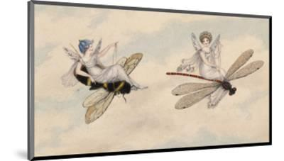 Two Fairies Flying Through the Air, One Seated on a Bee and the Other on a Dragonfly-Amelia Jane Murray-Mounted Premium Giclee Print