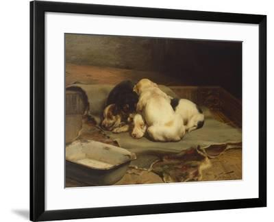 Puppies Sleeping-William Henry Hamilton Trood-Framed Giclee Print