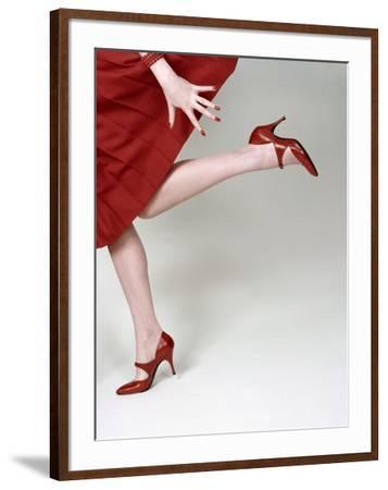 Vogue - February 1958 - Fleming-Joffe Red Heels-Richard Rutledge-Framed Premium Photographic Print