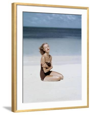 Vogue - July 1953 - Strapless Givenchy Swimsuit-John Rawlings-Framed Premium Photographic Print