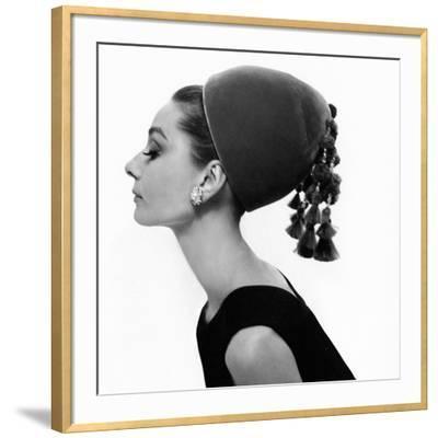 Vogue - August 1964 - Audrey Hepburn in Velvet Hat-Cecil Beaton-Framed Premium Photographic Print