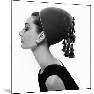 Vogue - August 1964 - Audrey Hepburn in Velvet Hat-Cecil Beaton-Mounted Premium Photographic Print
