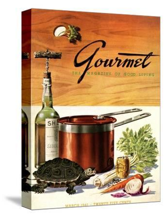 Gourmet Cover - March 1941-Henry Stahlhut-Stretched Canvas Print