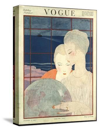 Vogue Cover - December 1917-Georges Lepape-Stretched Canvas Print