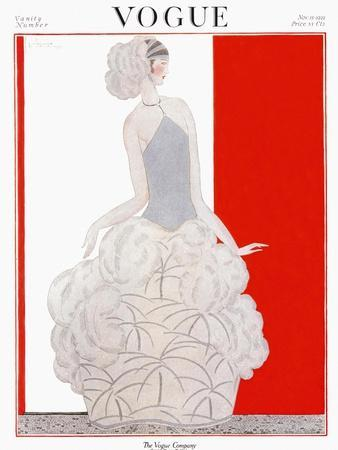 Vogue Cover - November 1922-Georges Lepape-Stretched Canvas Print