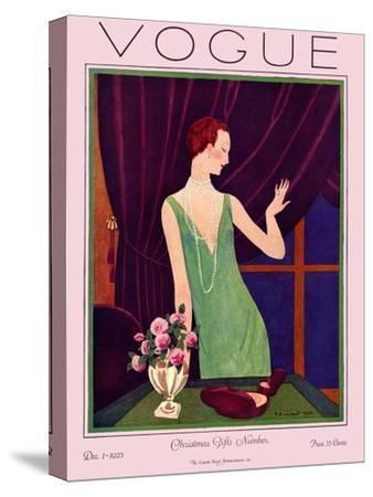 Vogue Cover - December 1925-Pierre Brissaud-Stretched Canvas Print