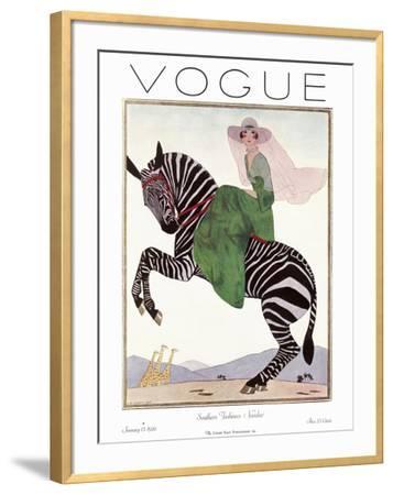 Vogue Cover - January 1926 - Zebra Safari--Framed Premium Giclee Print